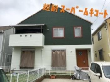 2Fを濃いめのグリーン色で塗装です!独創的でモダンなお家になりました☆