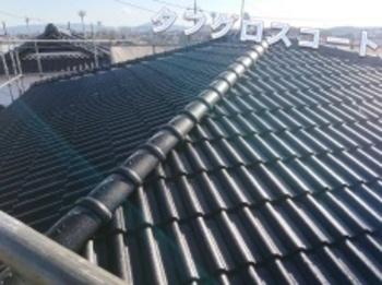 乾式コンクリート瓦を塗り替え!陶磁器タイルに合わせたブラック色の屋根で、これからもながもちする豪邸に☆